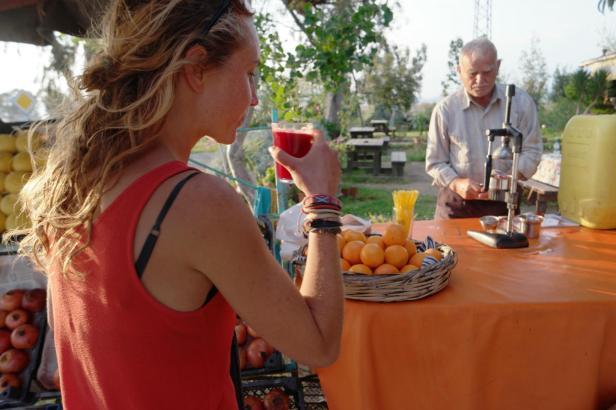 Drinking pomegranate juice if fun