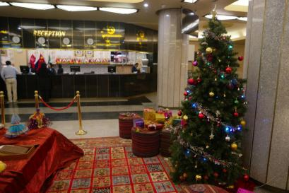 Our first Christmas tree in the New Year at the Hormoz hotel